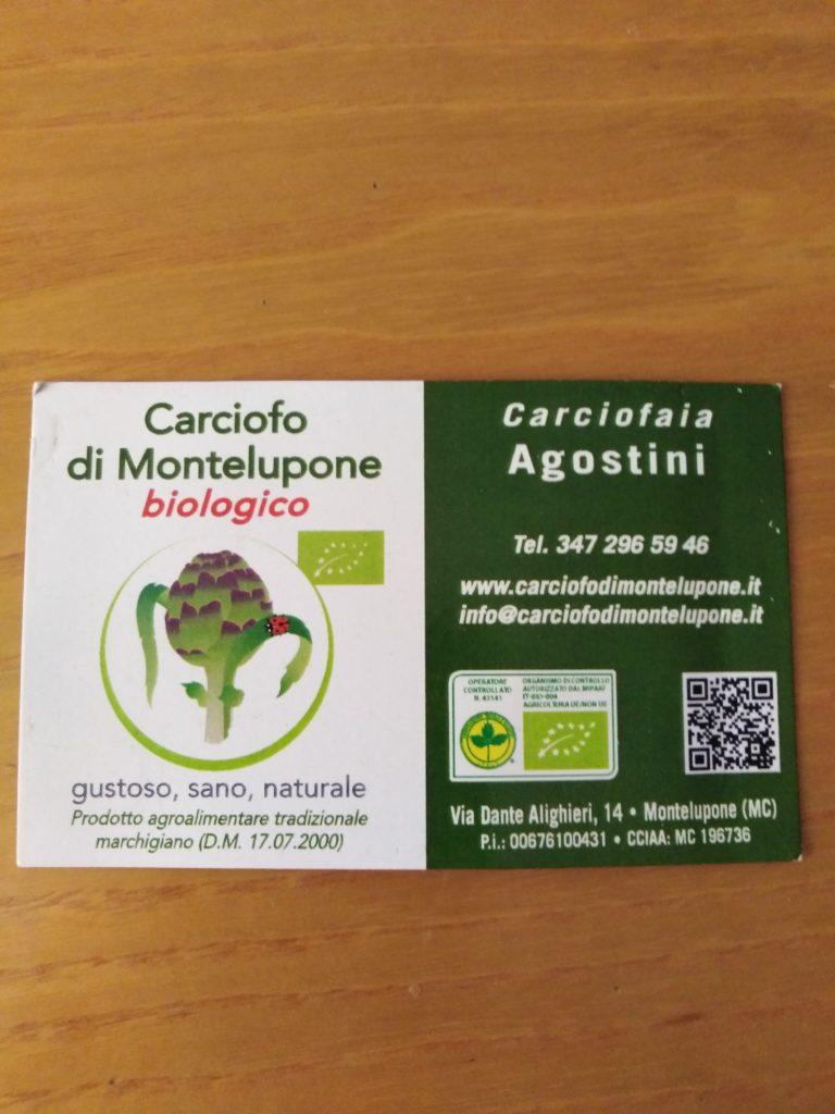 Immagine del bigliettino da visita della Carciofaia Agostini